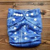 ジーンズを履いてるみたいなデニム柄【布おむつ本舗オリジナル】ポケット式ワンサイズおむつカバー(スナップ/ツルツル生地)