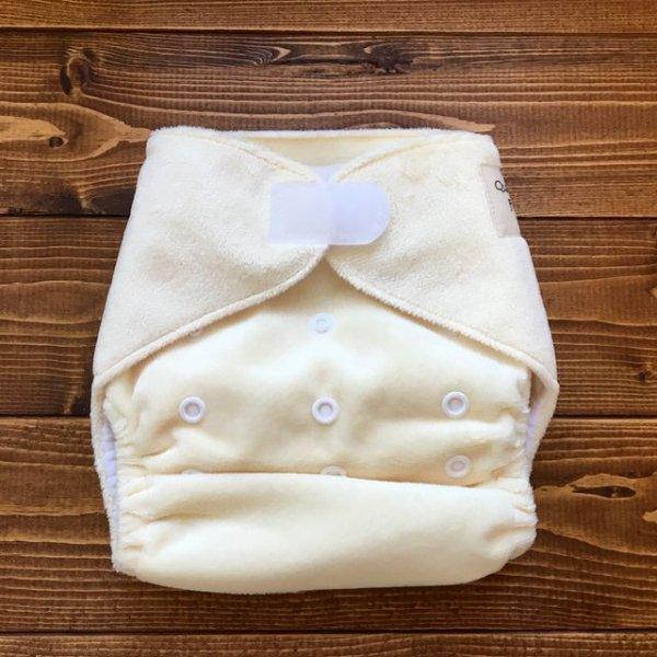 画像1: もこもこミルク【布おむつ本舗オリジナル】ポケット式ワンサイズおむつカバー ふんわり モコモコ(マジックテープ/ミンキー素材) 赤ちゃんらしい,みるく