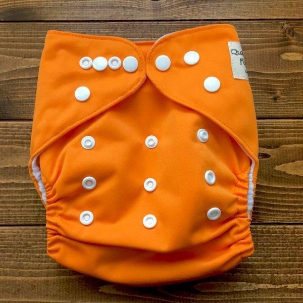 画像1: オレンジ【布おむつ本舗オリジナル】ポケット式ワンサイズおむつカバー(スナップ/ツルツル生地)