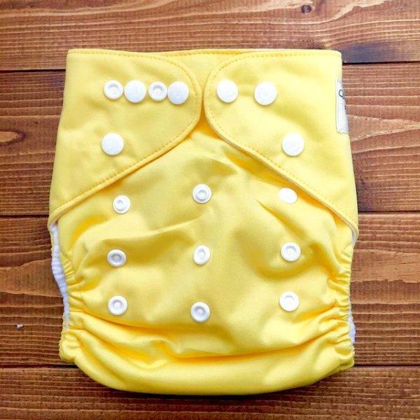 画像1: バナナミルク【布おむつ本舗オリジナル】ポケット式ワンサイズおむつカバー(スナップ/ツルツル生地)バナナみるく イエロー 黄色