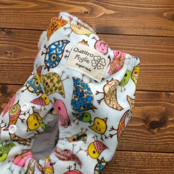 画像2: 「トリさん」【布おむつ本舗オリジナル】ポケット式ワンサイズおむつカバー(マジックテープ/ミンキー素材)アニマル 鳥,とり