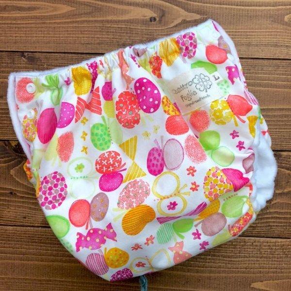 画像1: HAPPYバタフライ(ピンク)/透湿性防水布入りトレパン【ハンドメイド】立ったまま交換出来る♪パンツ型おむつカバー/花柄