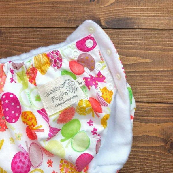 画像2: HAPPYバタフライ(ピンク)/透湿性防水布入りトレパン【ハンドメイド】立ったまま交換出来る♪パンツ型おむつカバー/花柄