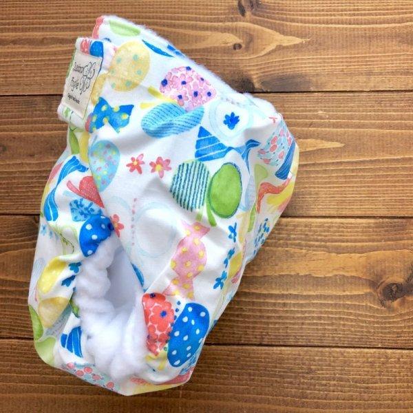 画像3: HAPPYバタフライ(ブルー)【よつばのおむつ/日本製/ハンドメイド布おむつカバー】 (透湿性防水布使用)蝶々,ちょうちょ