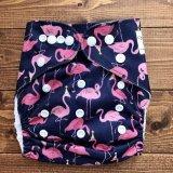 フラミンゴ!【布おむつ本舗オリジナル】ポケット式ワンサイズおむつカバー(スナップ/ツルツル生地)flamingo