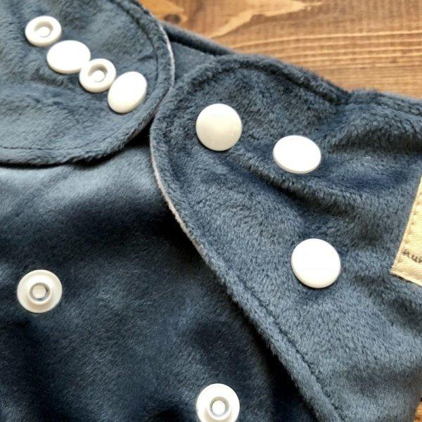 画像2: もこもこロシアンブルー 墨色【布おむつ本舗オリジナル】ポケット式ワンサイズおむつカバー(スナップ/ミンキー素材)モコモコブルーグレー
