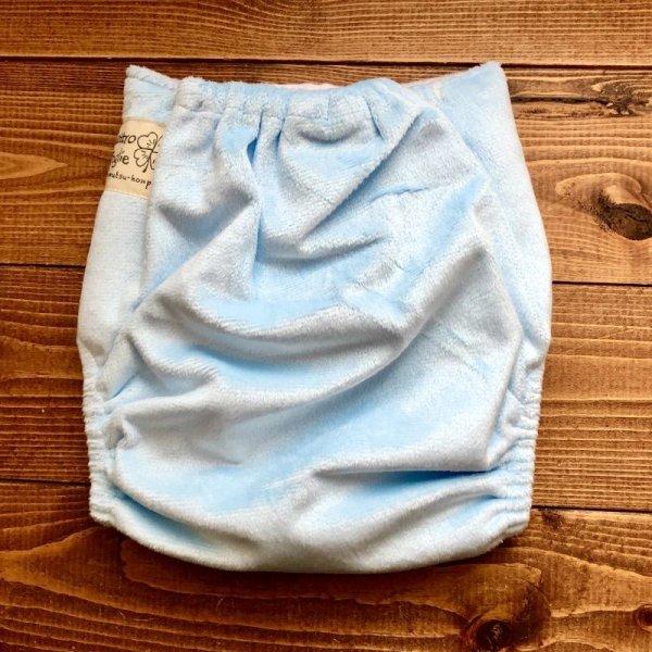 画像3: もこもこミルクソーダ 水色【布おむつ本舗オリジナル】ポケット式ワンサイズおむつカバー(スナップ/ミンキー素材)モコモコ