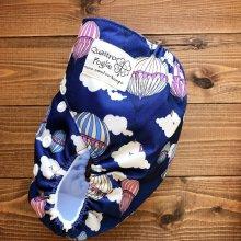 他の写真1: 気球(ネイビー)【布おむつ本舗オリジナル】ポケット式ワンサイズおむつカバー(マジックテープ/ツルツル生地)雲 ,空