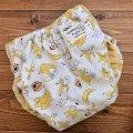猫バナナ/透湿性防水布入りトレパン【リニューアル版/ハンドメイド】立ったまま交換出来る♪パンツ型おむつカバー/ネコ,ねこ,ニャンコ