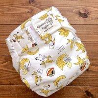 猫バナナ【よつばのおむつ/日本製/ハンドメイド】布おむつカバー (透湿性防水布使用)ネコ,ねこ,ニャンコ