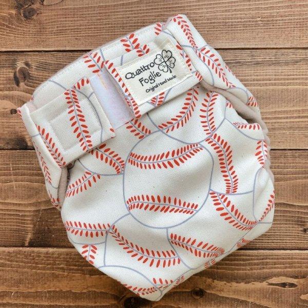 画像1: 野球ボール(キナリ)【よつばのおむつ/日本製/ハンドメイド】布おむつカバー (透湿性防水布使用/リニューアル版)男の子