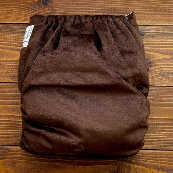 画像3: もこもこショコラ【布おむつ本舗オリジナル】ポケット式ワンサイズおむつカバー(スナップ/ミンキー素材)モコモコ 赤ちゃんらしくてかわいい♪茶色,ブラウン