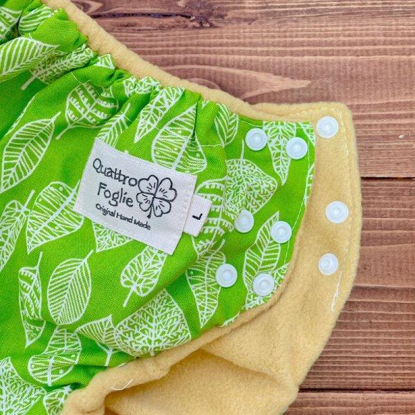 画像2: 北欧ミニリーフ(グリーン)透湿性防水布入りトレパン【リニューアル版/ハンドメイド】立ったまま交換出来る♪パンツ型おむつカバー