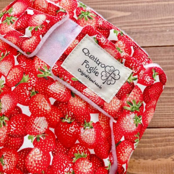 画像2: フレッシュ!リアルいちご【よつばのおむつ/日本製/ハンドメイド】布おむつカバー (透湿性防水布使用/リニューアル版)苺,イチゴ,赤