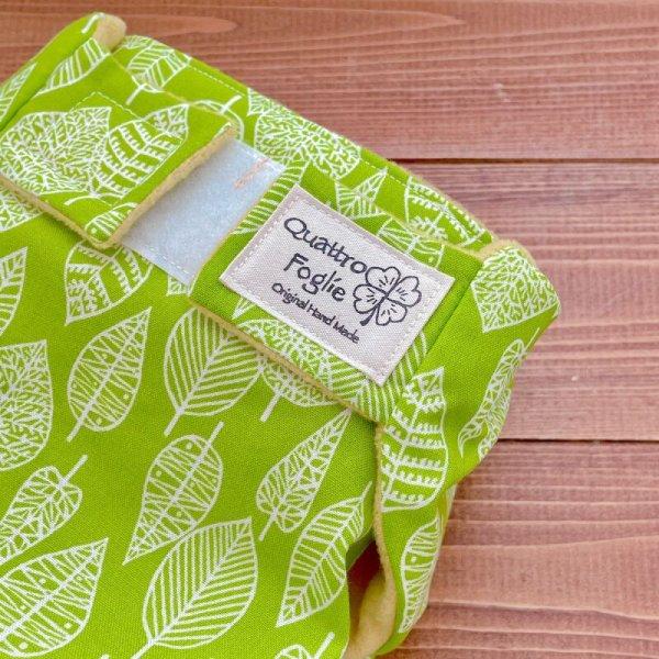 画像2: 北欧ミニリーフ(グリーン)【よつばのおむつ/日本製/ハンドメイド】布おむつカバー (透湿性防水布使用)