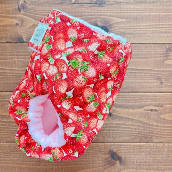 画像3: フレッシュ!リアルいちご【よつばのおむつ/日本製/ハンドメイド】布おむつカバー (透湿性防水布使用/リニューアル版)苺,イチゴ,赤