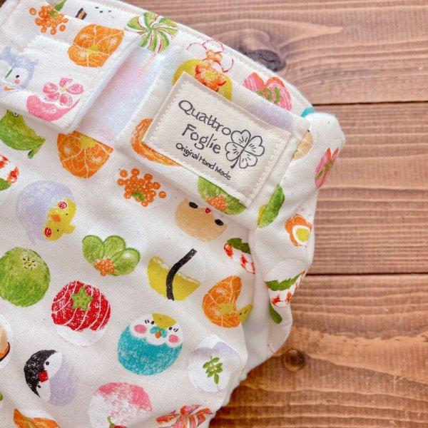 画像2: 和菓子な鳥さんたち(きなり)【よつばのおむつ/日本製/ハンドメイド】布おむつカバー (透湿性防水布使用)インコ,和柄