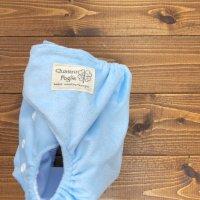 画像1: もこもこミルクソーダ【布おむつ本舗オリジナル】ポケット式ワンサイズおむつカバー ふんわり(マジックテープ/ミンキー素材)水色 ブルー 赤ちゃんらしいパウダーカラー モコモコ