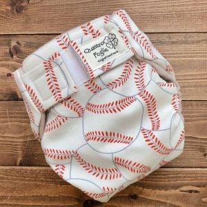 画像1: 野球ボール(キナリ)【よつばのおむつ/日本製/ハンドメイド】布おむつカバー (透湿性防水布使用/リニューアル版)男の子 (1)